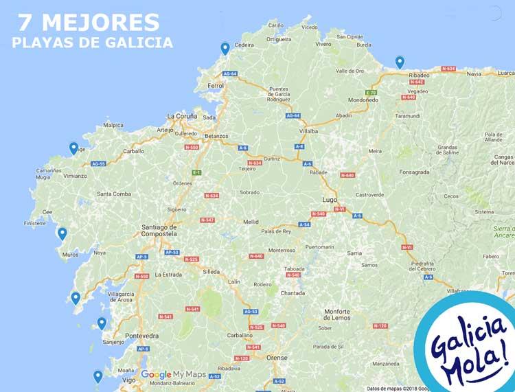 mapa situacion mejores playas de GALICIA